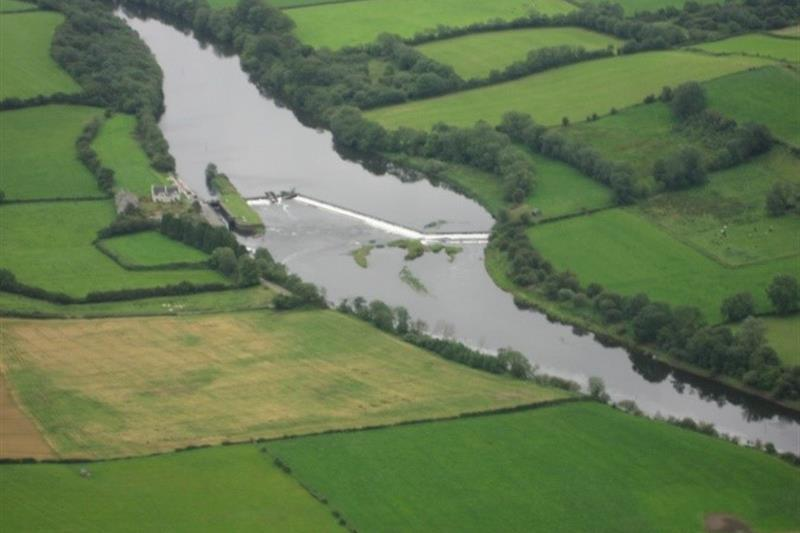 Carnoe Row Weir from the air
